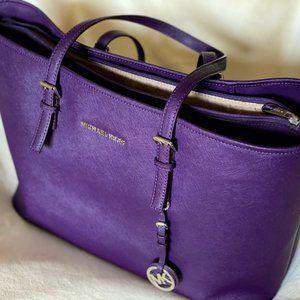 Michael Kors Large Saffiano Leather Laptop Tote (Purple)